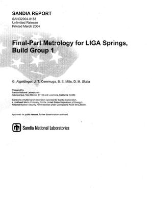 Primary view of object titled 'Final-part metrology for LIGA springs, Build Group 1.'.