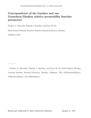 Primary view of object titled 'Correspondence of the Gardner and van Genuchten/Mualem relativepermeability function parameters'.