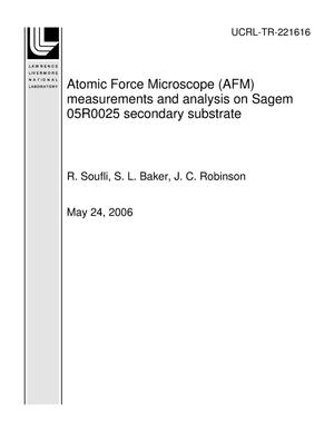 Primary view of object titled 'Atomic Force Microscope (AFM) measurements and analysis on Sagem 05R0025 secondary substrate'.