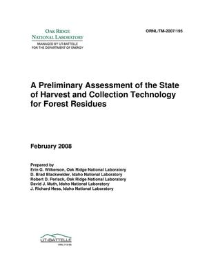 Primary view of object titled 'A preliminary assessment of the state of harvest and collection technology for forest residues'.