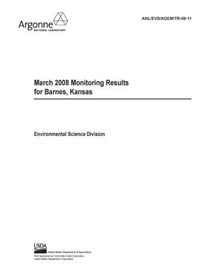 Primary view of object titled 'March 2008 monitoring results for Barnes, Kansas.'.
