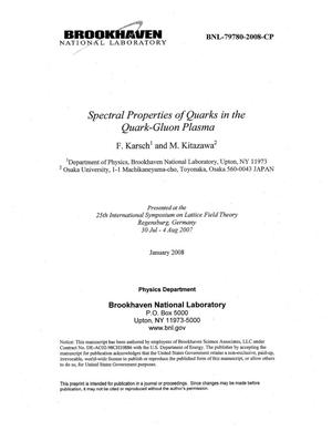 Primary view of object titled 'SPECTRAL PROPERTIES OF QUARKS IN THE QUARK-GLUON PLASMA.'.