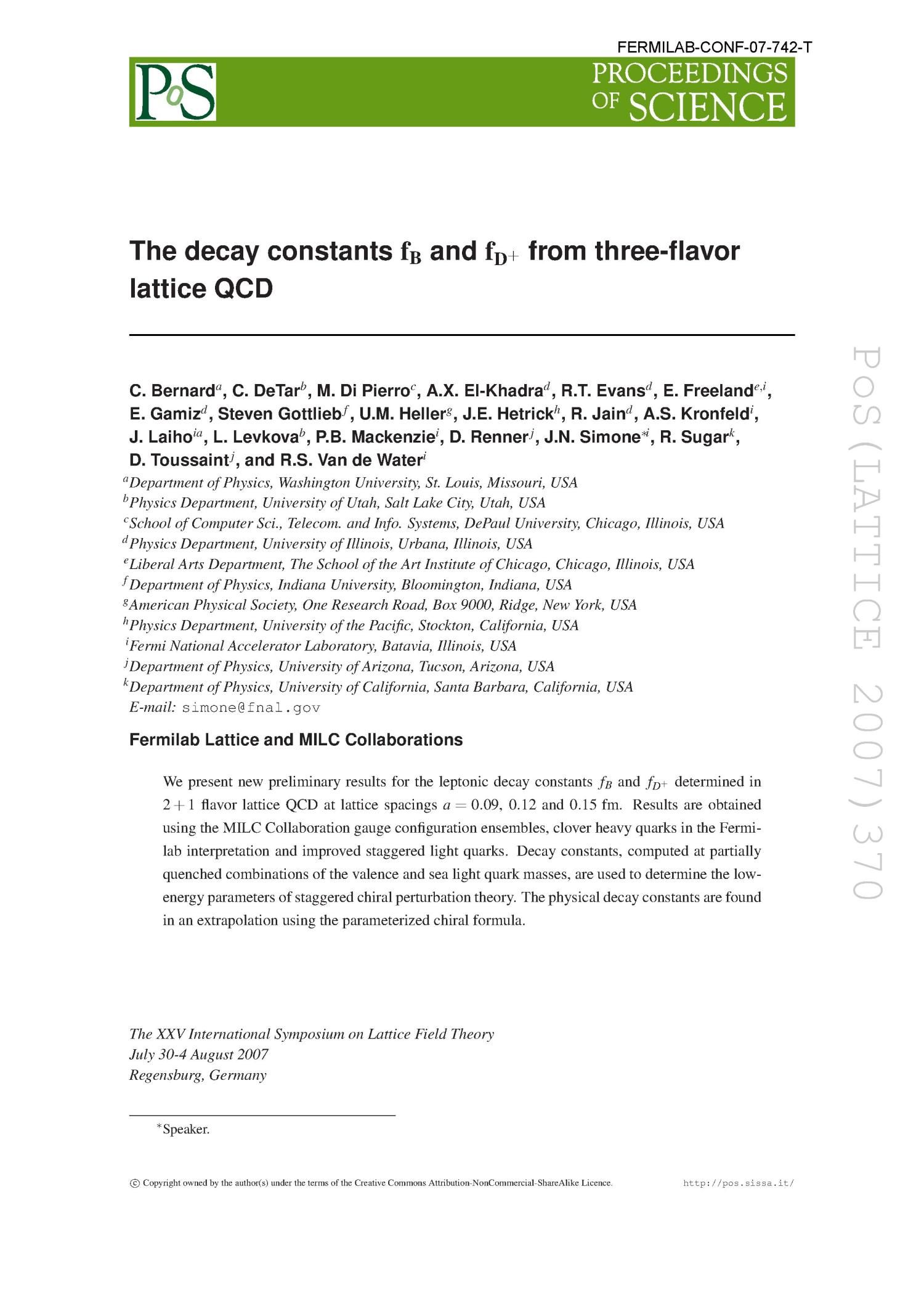 The decay constants f(B) and f(D+) from three-flavor lattice QCD                                                                                                      [Sequence #]: 1 of 7