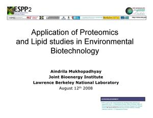 Primary view of object titled 'Application of Proteomics and Lipid Studies in Environmental Biotechnology'.