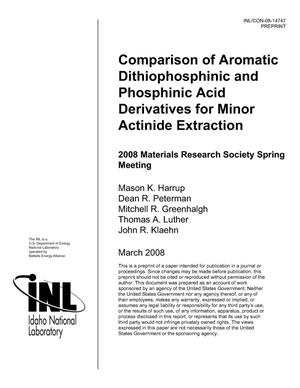 Primary view of object titled 'Comparison of Dithiophosphinic and Phosphinic Acid Derivatives for Minor Actinide Extraction'.