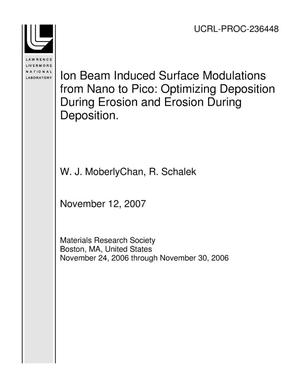 Primary view of object titled 'Ion Beam Induced Surface Modulations from Nano to Pico: Optimizing Deposition During Erosion and Erosion During Deposition.'.
