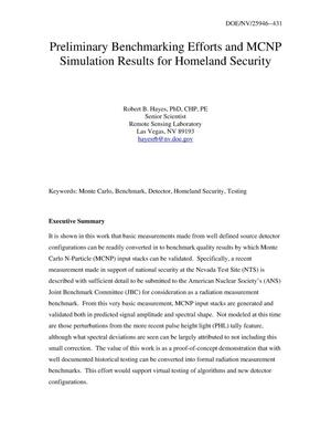 Primary view of object titled 'Preliminary Benchmarking Efforts and MCNP Simulation Results for Homeland Security'.