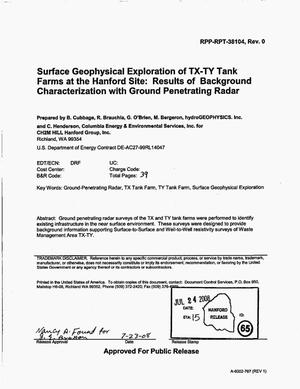 Primary view of object titled 'SURFACE GEOPHYSICAL EXPLORATION OF TX-TY TANK FARMS AT THE HANFORD SITE RESULTS OF BACKGROUND CHARACTERIZATION WITH GROUND PENETRATING RADAR'.