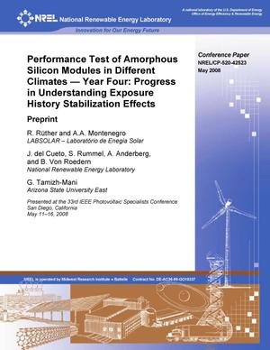 Primary view of object titled 'Performance Test of Amorphous Silicon Modules in Different Climates - Year Four: Progress in Understanding Exposure History Stabilization Effects; Preprint'.