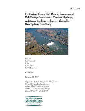 Primary view of object titled 'Synthesis of Sensor Fish Data for Assessment of Fish Passage Conditions at Turbines, Spillways, and Bypass Facilities – Phase 1: The Dalles Dam Spillway Case Study'.