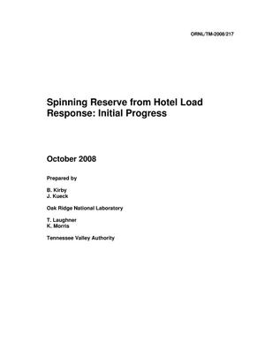 Primary view of object titled 'Spinning Reserve From Hotel Load Response: Initial Progress'.