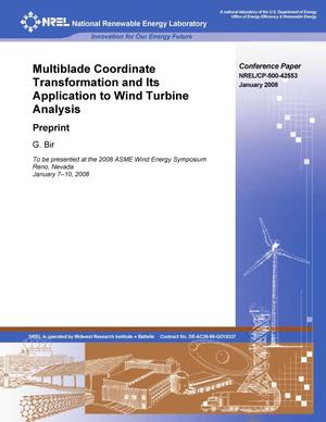 Primary view of object titled 'Multiblade Coordinate Transformation and Its Application to Wind Turbine Analysis: Preprint'.