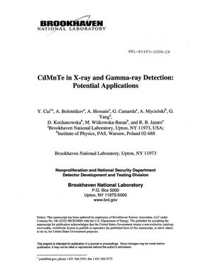 Primary view of object titled 'CdMnTe in X-ray and Gamma-ray Detection: Potential Applications'.
