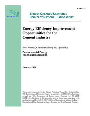 Primary view of object titled 'Energy Efficiency Improvement Opportunities for the Cement Industry'.