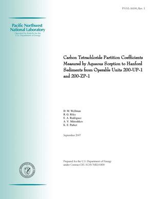 Primary view of object titled 'Carbon Tetrachloride Partition Coefficients Measured by Aqueous Sorption to Hanford Sediments from Operable Units 200-UP-1 and 200-ZP-1'.