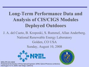 Primary view of object titled 'Long-Term Performance Data and Analysis of CIS/CIGS Modules Deployed Outdoors (Presentation)'.