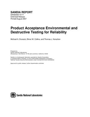 Primary view of object titled 'Product acceptance environmental and destructive testing for reliability.'.