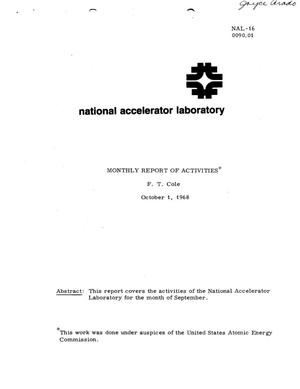 Primary view of object titled 'Monthly report of activities: October 1, 1968'.