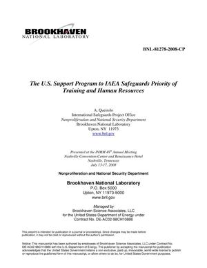 Primary view of object titled 'The US Support Program to IAEA Safeguards Priority of Training and Human Resources'.