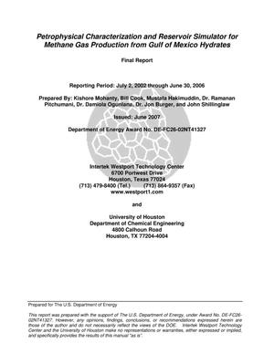 Primary view of object titled 'Petrophysical Characterization and Reservoir Simulator for Methane Gas Production from Gulf of Mexico Hydrates'.