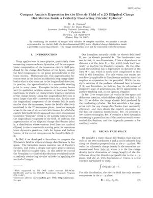 Primary view of object titled 'Compact Analytic Expression for the Electric Field of a 2DElliptical Charge Distribution Inside a Perfectly Conducting CircularCylinder'.