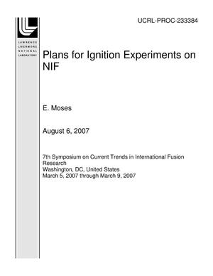 Primary view of object titled 'Plans for Ignition Experiments on NIF'.