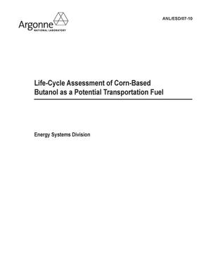Primary view of object titled 'Life-cycle assessment of corn-based butanol as a potential transportation fuel.'.