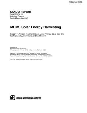 Primary view of object titled 'MEMS solar energy harvesting.'.