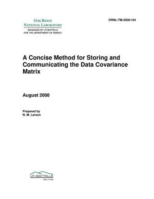 Primary view of object titled 'A Concise Method for Storing and Communicating the Data Covariance Matrix'.