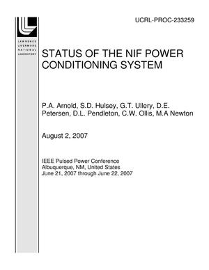 Primary view of object titled 'STATUS OF THE NIF POWER CONDITIONING SYSTEM'.