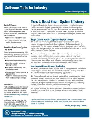 Primary view of object titled 'Tools to Boost Steam System Efficiency, Software Tools for Industry, Industrial Technologies Program (ITP) (Fact Sheet)'.