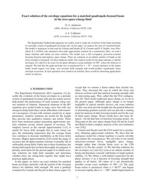 Primary view of object titled 'Exact solution of the envelope equations for a matchedquadrupole-focused beam in the zero space-charge limit'.