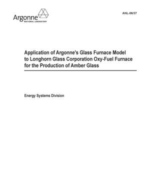 Primary view of object titled 'Application of Argonne's Glass Furnace Model to longhorn glass corporation oxy-fuel furnace for the production of amber glass.'.