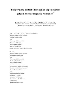 Primary view of object titled 'Temperature-controlled molecular depolarization gates in nuclear magnetic resonance'.