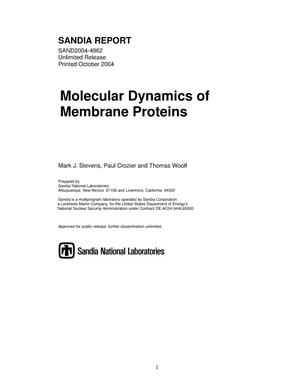 Primary view of object titled 'Molecular dynamics of membrane proteins.'.