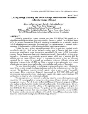 Primary view of object titled 'Linking Energy Efficiency and ISO: Creating a Framework forSustainable Industrial Energy Efficiency'.