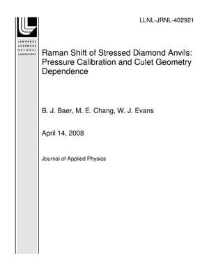 Primary view of object titled 'Raman Shift of Stressed Diamond Anvils: Pressure Calibration and Culet Geometry Dependence'.