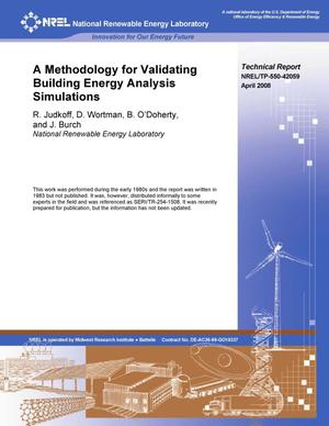 Primary view of object titled 'Methodology for Validating Building Energy Analysis Simulations'.