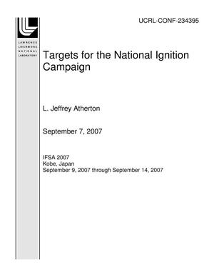 Primary view of object titled 'Targets for the National Ignition Campaign'.