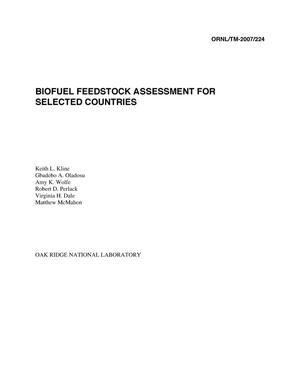 Primary view of object titled 'Biofuel Feedstock Assessment For Selected Countries'.