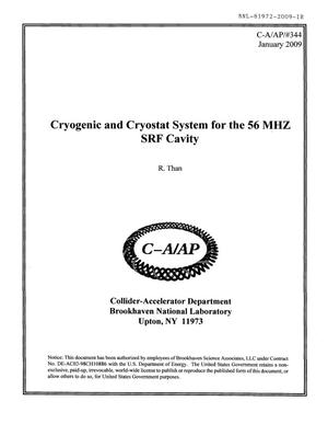 Primary view of object titled 'Cryogenic and Crysostat System for the 56 MHZ SRF Cavity'.