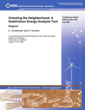 Primary view of object titled 'Orienting the Neighborhood: A Subdivision Energy Analysis Tool; Preprint'.