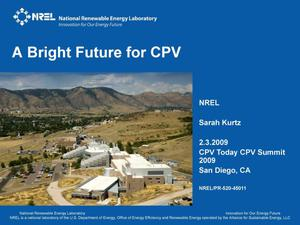 Primary view of object titled 'Bright Future for CPV (Presentation)'.