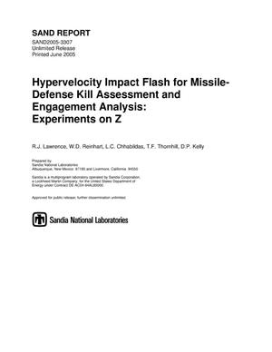 Primary view of object titled 'Hypervelocity impact flash for missile-defense kill assessment and engagement analysis : experiments on Z.'.