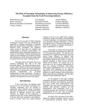Primary view of object titled 'The Role of Emerging Technologies in Improving Energy Efficiency:Examples from the Food Processing Industry'.
