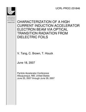 Primary view of object titled 'CHARACTERIZATION OF A HIGH CURRENT INDUCTION ACCELERATOR ELECTRON BEAM VIA OPTICAL TRANSITION RADIATION FROM DIELECTRIC FOILS'.
