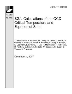 Primary view of object titled 'BG/L Calculations of the QCD Critical Temperature and Equation of State'.