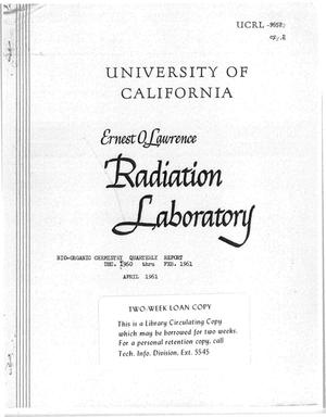 Primary view of object titled 'BIO-ORGANIC CHEMISTRY QUARTERLY REPORT DEC. 1960 THROUGH FEB.1961'.