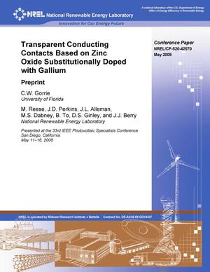 Primary view of object titled 'Transparent Conducting Contacts Based on Zinc Oxide Substitutionally Doped with Gallium: Preprint'.