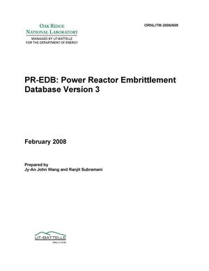 Primary view of object titled 'PR-EDB: Power Reactor Embrittlement Database - Version 3'.